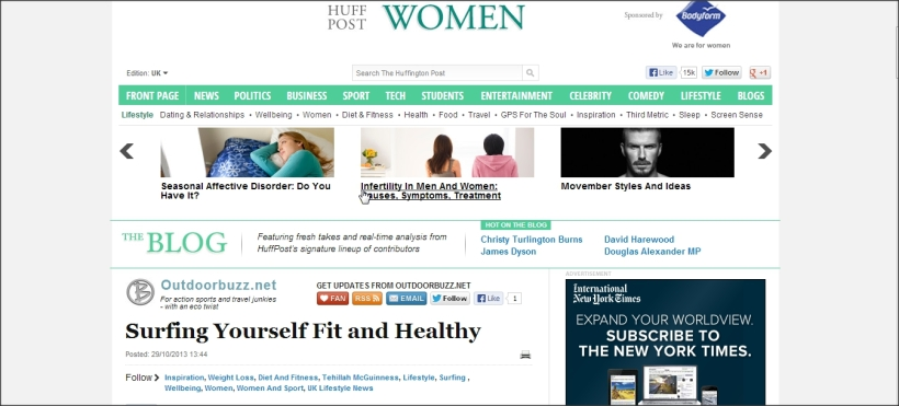 Tehillah McGuinness Pro Surfer in the Huffington Post