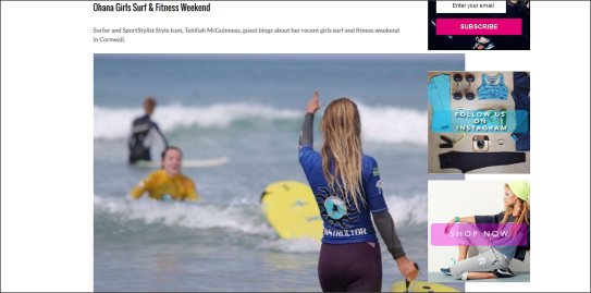 Sport Style Icon and Pro Surfer Tehillah McGuinness hosts her 'Ohana Girls Surf and Fitness' weekend at Perranporth Surf School in Cornwall.