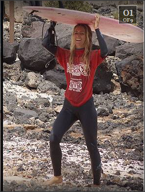 Tehillah McGuinness South African born Pro Surfer and model coaching in Fuerteventura - Review by Independant Ireland