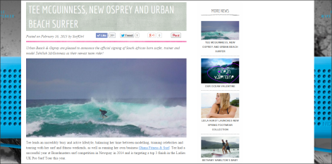Tehillah McGuinness South African Born Pro Surfer, model and celebrity fitness trainer feature with SurfGirl Magazine - Tehillah McGuinness signs a sponsorship contract with Urban Beach and Osprey