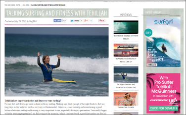 Surfgirl Magazine- Talking Surf and Fitness with Pro Surfer and Sports Model Tehillah McGuinness about her Ohana Surf and Fitness weekend with Perranporth Surf School in Cornwall on June 6/7