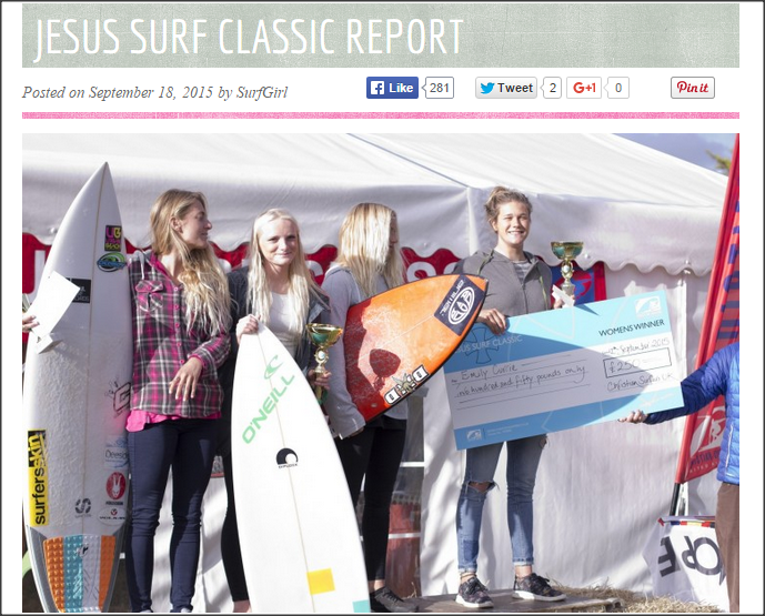 Pro Surfer and South African born sports model, celebrity fitness trainer and entrepreneur places 4th at the 2015 Jesus Surf Classic.