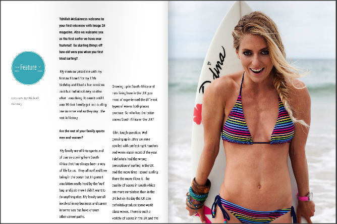 IMAGE34 Interview South African Born Pro Surfer, Sports Model, Celebrity, Personal Trainer, Ambassador and Sport Style Icon Tehillah McGuinness