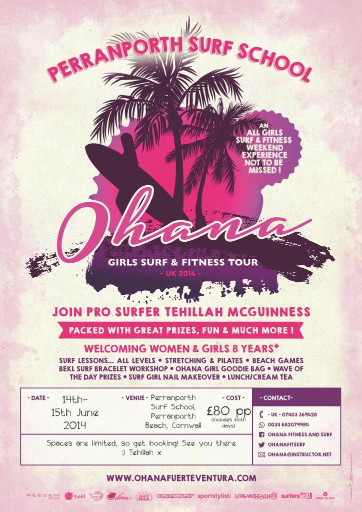 Ohana Girls Surf and Fitness UK Tour - Perranporth Surf School June 14-15 2014