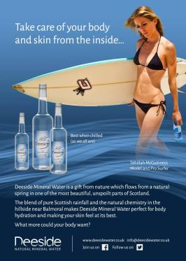 Tehillah McGuinness - South African Born model, Pro Surfer and Deeside Water Ambassador at the Scottish Fashion Awards 2014