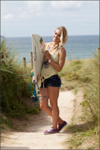 South African born Pro Surfer, Sports Model and SportStyle Icon Tehillah McGuinness making waves at the Boardmasters contest in Newquay...pictured on a shoot with local photographer Julia McIntosh! Expect big things from these two in the near future. Photo credit Julia McIntosh Photography