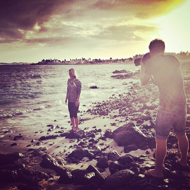Tehillah McGuinness South African Born Pro Surfer behind the scenes commercial shooting in Fuerteventura