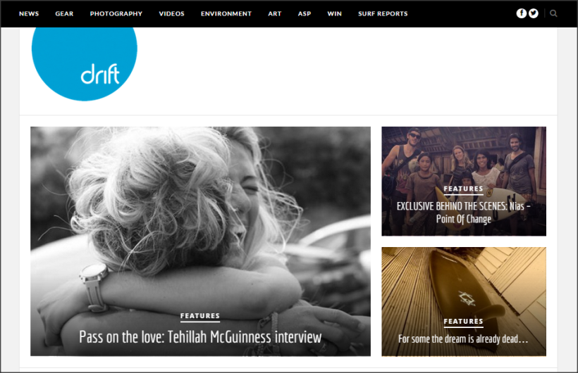 Tehillah McGuinness South African born Pro Surfer feature with Drift Surf Magazine - Pass on the love