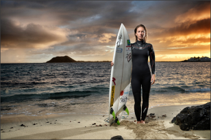 South African born Pro Surfer Tehillah McGuinness shoots for Extreme lounging in Fuerteventura
