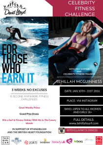 Celebrity Fitness Challenge with David Lloyds Gym for British Heart Foundation. Celebrity and Pro surfer Tehillah McGuinness helps women and girls to get active through an online fitness challenge!