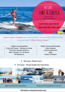 South African Born Sports Model, Pro Surfer, Celebrity and surf coach is hosting an all Girls Surf and Stretch holiday week in Fuerteventura. Dont this amazing opportunity in the Canary Islands! Book now for dates in March!