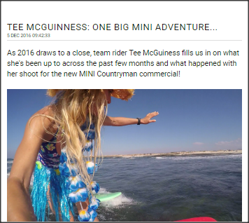 Urban Beach and Osprey Pro Surfer and Team Rider lets us know what she has been up to these past few months - from finishing up the competitive season, shooting the new MINI commercial, hosting her Surf and Fitness weeks in Fuerteventura and what her plans for 2017